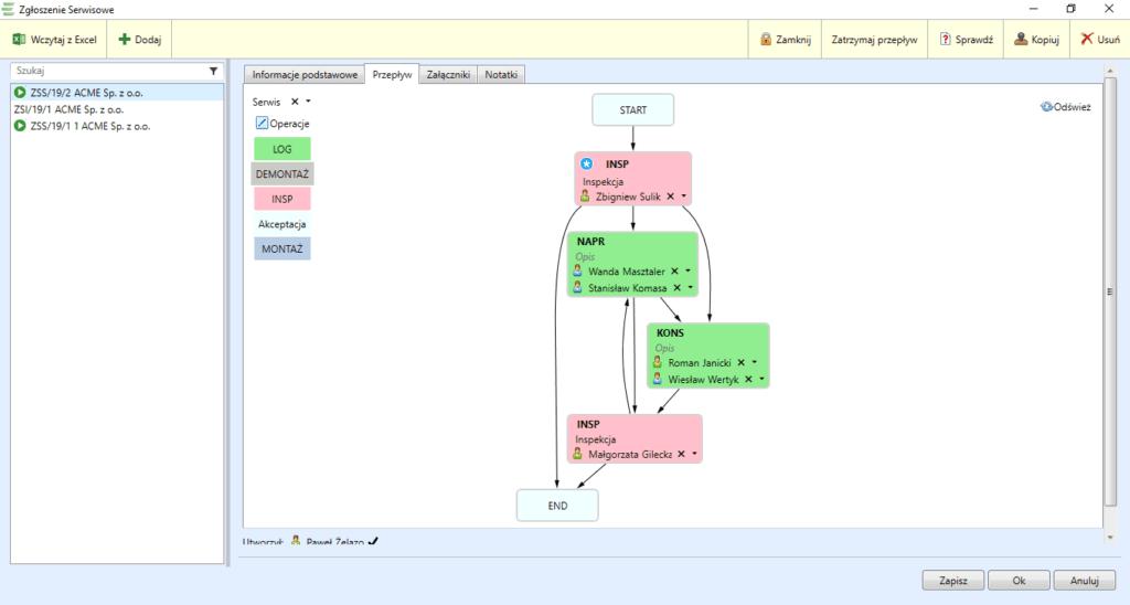 Rejestruj zarządzaj i planuj serwisy lub instalacje